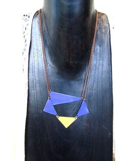 Made to orderHand Painted Asymmetrical Brass Necklace by LairaLou, $38.00