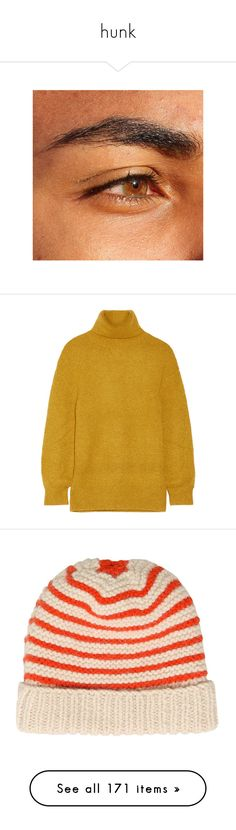 """""""hunk"""" by dattebyeno ❤ liked on Polyvore featuring beauty products, pictures, tops, sweaters, loose turtleneck, stretch sweater, loose sweater, turtle neck top, yellow cashmere sweater and hats"""