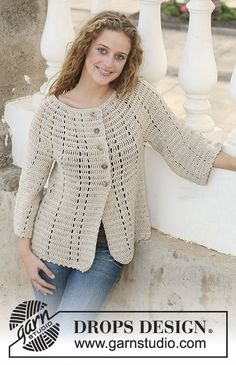 "Making Tracks / DROPS 111-36 - Crochet DROPS jacket in ""Muskat"" with 3/4 sleeves. Size S - XXXL."