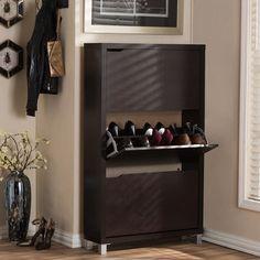Baxton Studio Simms Modern White Shoe Cabinet - On Sale - Overstock - 8009734 Shoe Rack With Seat, Shoe Racks, Modern Decor, Modern Design, Shoe Storage Solutions, Brown Wood, Dark Brown, Yellow Doors, Shoe Storage Cabinet
