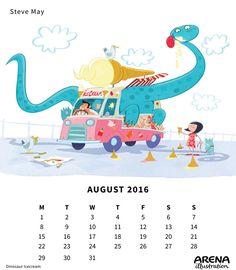 Steve May- Arena Calendar August 2016 August Calendar, 2016 Calendar, May, Illustrators, Ice Cream, Cool Stuff, Drawings, Awesome, Poster
