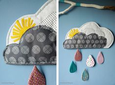 Wolken Mobile mit Regentropfen, Cloud Mobile with Raindrops, Stoff, Fabric, Nähen, Sewing, Kinderzimmer, Babys Room,