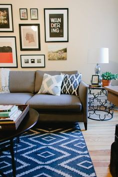 Kite Kilim Rug + Gourd Table Lamp + Pillows from west elm