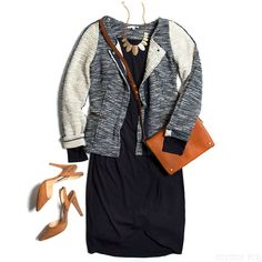 This Stitch Fix jacket is adorable. Carlin Long Sleeve Ruched Skirt Dress Brice Color Block Mix Tweed Jacket Gatsby Deco Fan Necklace