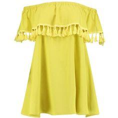 Boohoo Niyati Tassel Trim Off The Shoulder Shift Dress ($26) ❤ liked on Polyvore featuring dresses, casual dress, off the shoulder midi dress, yellow maxi dress, jersey maxi dress, body con dresses and midi dress