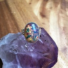Glass Opal Ring Misted Glass Opal Jewellery Adjustable Ring