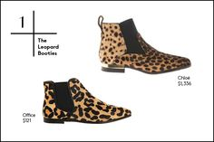 1. The Leopard Booties Leopard doesn't really ever go away. But, the animal print is returning as the queen of the jungle collections this winter in particular, especially when it comes to footwear. Spice up your 9-to-5 lineup with a pointed-toe bootie or give your favorite sweater-dress a fresh spin for a night out.