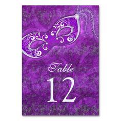 Purple Silver Masquerade Ball Mardi Gras Wedding Card #mardigras