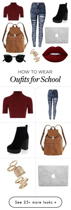 """""""School Day"""" by susanna-trad on Polyvore featuring Glamorous, New Look, BAGGU, Lime Crime and Topshop"""