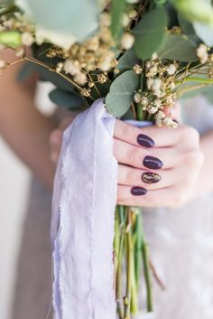Plum and Gold Glitter Manicure | Photo: Bri Cibene Photography | Bouquet: Rose of Sharon European Florist |