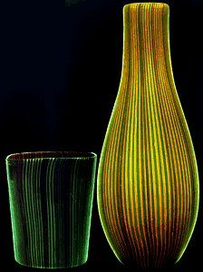 Blown glass vases decorated with filigrana threads in two alternate colors, 1942.  Carlo Scarpa for Venini