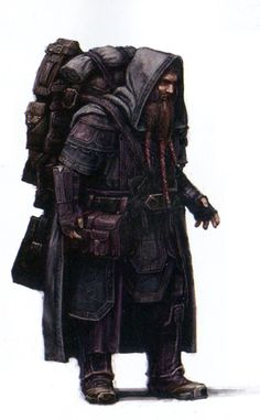 "Concept art for Nori from ""The Hobbit: An Unexpected Journey"" (2012).  His unique tri-braided beard design is already evident at this stage of the character conception."
