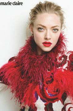 Tantalizing & mysterious Amanda Seyfried wearing a ‪#‎JustCavalliFW15‬ mini dress embroidered with burgundy rhinestones & ostrich feathers on the August issue of Marie Claire UK. ‪#‎JustCavalliEditorials‬