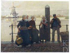 Hans Herrmann (1858-1942) Converserend volk op een Dordtse kade, ca. 1890 Christie's (Amsterdam), 82 #ZuidHolland #Dordrecht #Zeeland #Arnemuiden