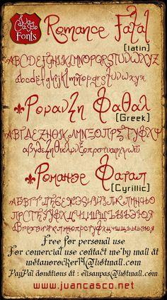 Romance Fatal by DarkoJuan on DeviantArt Creative Fonts, Cool Fonts, Fun Fonts, Tattoo Script, I Tattoo, Wrist Tattoo, Greek Font, Greek Lettering, Silhouette Fonts