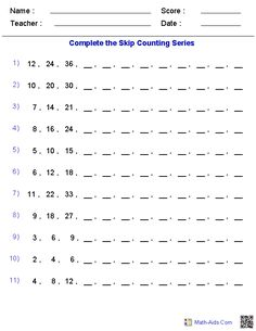 These dynamically created Skip Counting Worksheets are great for practicing skip counting for different number series, from Kindergarten to Grade. Times Tables Worksheets, Number Worksheets, Kindergarten Math Worksheets, Teaching Math, Counting Backwards, Skip Counting, Division Activities, Math Activities, Math Patterns