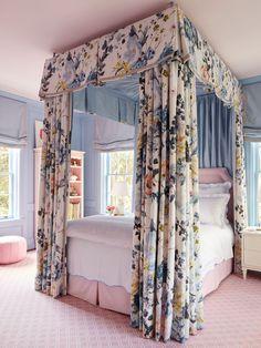 Detailing the Design: Grace's Bedroom – Bailey McCarthy girls room canopy bed Home Bedroom, Bedroom Furniture, Bedroom Decor, Bedroom Ideas, Master Bedroom, Furniture Design, Teen Girl Bedrooms, Little Girl Rooms, Teen Bedroom