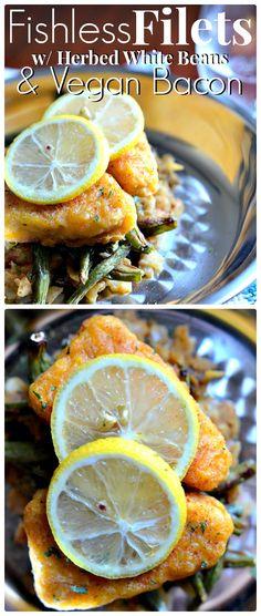 Hannah's recipe for Fishless Filets w/ Herbed White Beans & Vegan Bacon is amazingly simple! Vegan Foods, Vegan Vegetarian, Vegetarian Recipes, Filet Recipes, Vegan Meat Substitutes, Vegan Fish, Vegan Comfort Food, Vegan Main Dishes, Vegan Dinners