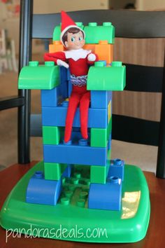 Elf on the Shelf: On a throne of Legos!