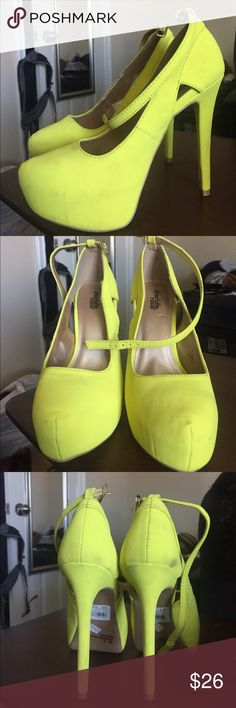 Lime green pumps. Fun colorful pumps. Worn only once. Has a couple of stains, but I'm sure they can be cleaned. Charlotte Russe Shoes Heels