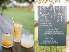 Drinks menu. LVL Weddings & Events/Photography: Brandon Kidd Photography/Venue: Olowalu Plantation House/Floral: Wild Heart Floral Design/Catering: Cafe O'Lei/Bartender: Garnish Cocktails/Beauty: 10.11 Makeup/Rentals: Pacific Isle Rentals, Winters Events, Set, and Signature Maui/Stationary: Miss B Calligraphy/Entertainment: Kevin Miso/Cinematography: Sunlit Films/Cake: Maui Sweet Cakes/Transportation: Hawaii Executive Transportation/Accomodations & Rehearsal Dinner: Westin Maui Resort & Spa