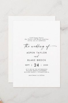 Modern Script Casual Both Parents Hosting Wedding Invite. Click to customize with your personalized details today. Fall Wedding Invitations, Beautiful Wedding Invitations, Rustic Invitations, Invitation Design, Elegant Wedding, Invite, Casual Grooms, Black And White Design, Stationery Paper