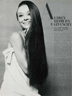 I've never before seen this photo of Audrey with her hair trailing like this.  Rather than looking hippie-dippie, she still looks absolutely refined in her Givenchy.