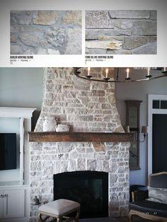 Stone Veneer Fireplace, Stone Fireplace Designs, Stacked Stone Fireplaces, Fireplace Surrounds, Fireplace With Stone, Kitchens With Fireplaces, Painted Rock Fireplaces, Ledger Stone Fireplace, Outdoor Stone Fireplaces