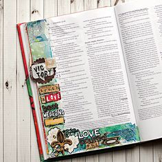 Heather Greenwood Designs | art journaling in my bible, a tutorial on using deli paper prints to collage a background in the margins before art journaling #artworship #illustratedfaith #artjournalbible