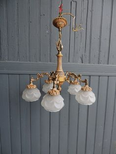 Vintage French bronze brass and glass five lamp by Frenchidyll