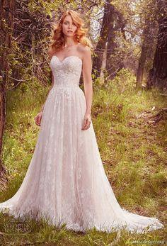maggie sottero spring 2017 bridal strapless sweetheart neckline full embellishment romantic a line wedding dress chapel train (rylie) mv