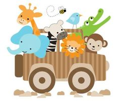 "Jungle Zoo Animals Jeep Wall Mural Decals Baby Nursery Kids Room Stickers Decor measures 30"" Tall and 33"" Wide #decampstudios http://stores.ebay.com/DeCamp-Studios"
