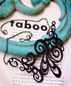 3d Printed Jewelry  Swirly Black Necklace  by LemantulaDesigns, $38.00