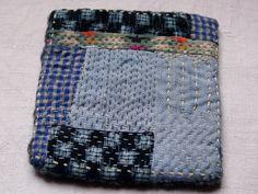 treasury : table mat ,coaster, pot holder, handsewn , with vintage japanese fabrics, kantha/sashiko