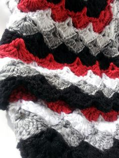Incredibly Soft Afghan Throw Blanket in Red Black Grey and White