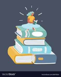 Girl sitting in front pile books vector image on VectorStock Reading Cartoon, Pile Of Books, Flat Illustration, Illustrations, Animals And Pets, Books To Read, Adobe Illustrator, Open Book, Pose Reference