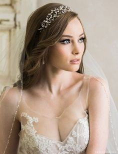 Wedding Hair Down Bel Aire Bridal 6720 Headband - Black Wedding Hairstyles, Curly Wedding Hair, Wedding Hair Down, Wedding Headband, Wedding Updo, Bride Hairstyles, Down Hairstyles, Wedding Tiara Veil, Bridal Hair Tiara