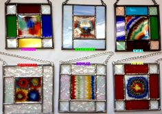 Contemporary Fused Stained Glass Panel  Colorful by PeaceLuvGlass, $20.00