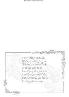 Birthday Insert Silver Leafy Frame on Craftsuprint designed by Janet Briggs - An A4 insert in portrait layout for your A5 cards in landscape…