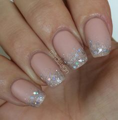 Ombre glitter sparkle on nude base nails