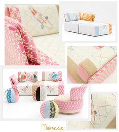 fun way to layer patterns on furniture
