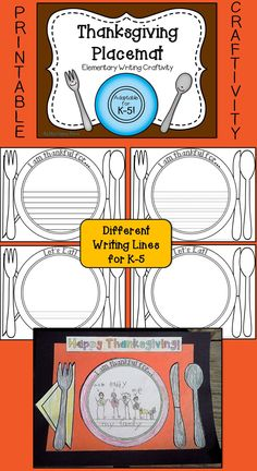 Thanksgiving Placemat Craft - Fun and appropriate for all elementary grades! $