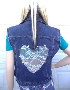 Denim+Vest++Handmade+Lace+Heart+Shape+Cut+Out+on+Back+by+MrPlus