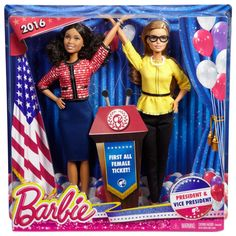 Quite possibly the most stylish Barbies to date, President Barbie ($25 per set of two) is decked out in red...