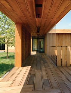 Exterior decking lined with mahogany planks