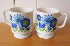 vintage pedestal flower mugs