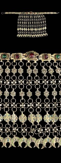 Provincial late-Ottoman choker (tight-fitting necklace).  Possibly form the Balkans, circa 19th century.  Enamelled gilt-silver.