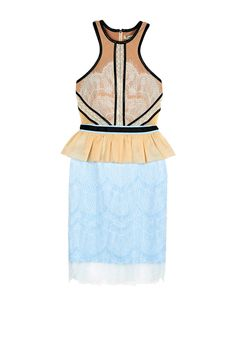 FORGET ME NOT Mini Dress - ATTENTION this dress is elastic but fits small on the waist s = 66 cm // m = 71 Just the perfect dress for any summer occasion: mini dress by Three Floor in blue and nude with soft white lace overlay, built with a pleated peplum and contour panels for a perfect hourglass look. Features include: narrow neckline, black faux croc leather trim and a gold metal zip fastening. Lace and Mesh: 100% PolyamideTop Lining: 90% Polyester 10% ElastaneSkirt Lining: 98% Polyester…