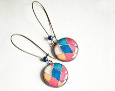 Blue and red mosaic earrings - Multicolor Jewelry - Earrings