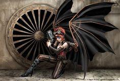 Fantasy. Futuristic Bat Winged Woman Warrior. Steampunk.